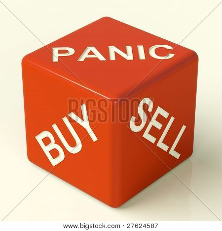 Buy Panic And Sell Dice Representing Market Stress