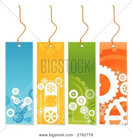Four Colored Tags With Technology Theme On A Leash
