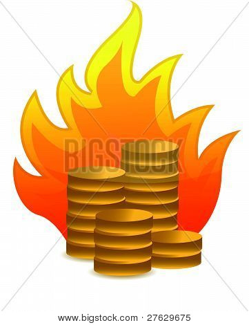 coins on fire illustration design on white