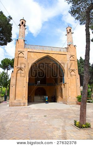 Mezquita de Jonban Monar con temblor minarete en Esfahan, Isfahán, Irán