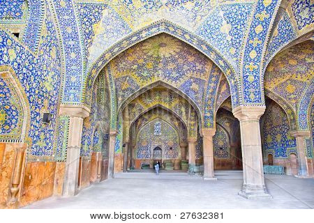 Tiled oriental arcs and pillars on Jame Abbasi mosque, Esfahan, Iran