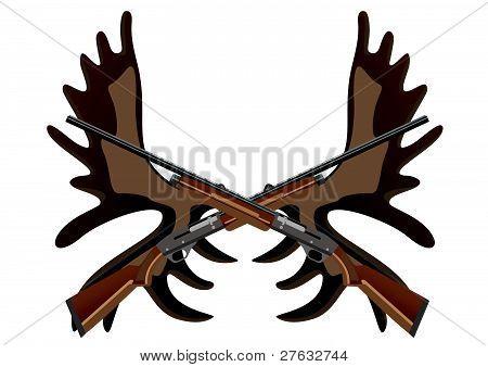 Hunting rifles and antlers of elk