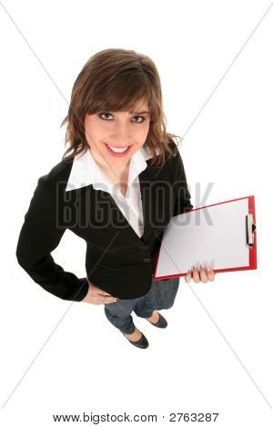 Woman Holding Clipboard, Smiling