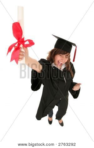 Female Graduate Holding A Degree
