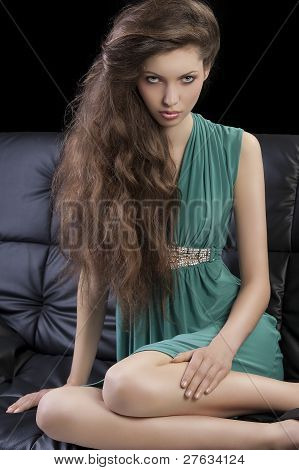 Young Elegant Girl In Green
