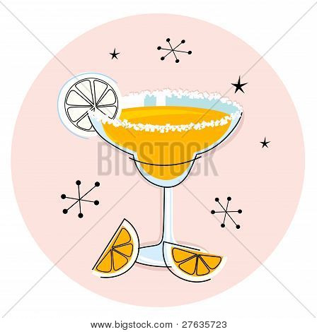 Retro Yellow Margarita Isolated On White