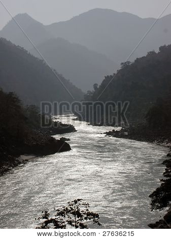 River Ganges in the Himalayas in India