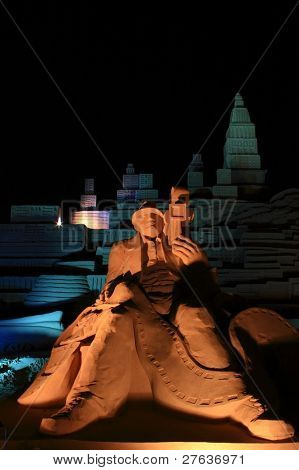 Hollywood scenery by night made from sand