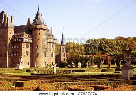 Castle 'De Haar' and the garden in the Netherlands