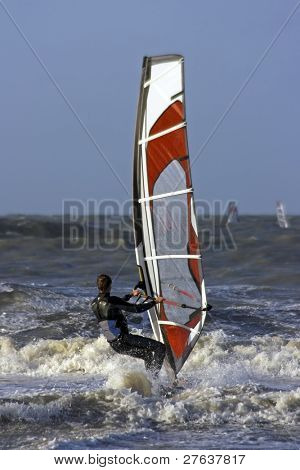 Windsurfer on the north sea in the Netherlands