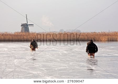 Typically dutch:  sledging on a frozen lake with view on a windmill on a cold winterday