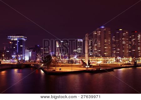 Rotterdam innercity in the Netherlands by night