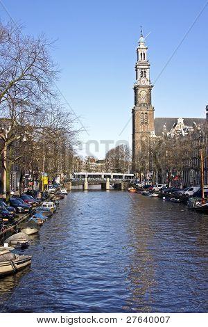Amsterdam inner city with the Westerkerk in the Netherlands