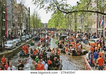 AMSTERDAM - APRIL 30:  Queensday on April 30, 2010 in Amsterdam, The Netherlands