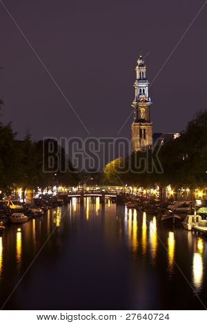 The Westerkerk by night in Amsterdam the Netherlands