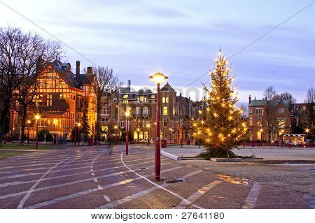 Museumplein at christmastime in Amsterdam the Netherlands at twilight