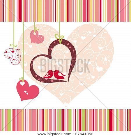 Lovebirds Colorful Heart Shape Card Design