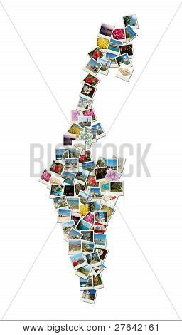 Map Of Israel,collage Made Of Travel Photos With Famous Landmarks - Western Wall,omar Mosque