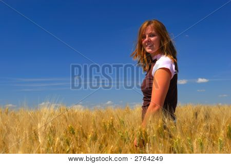 Happy Woman In Durum Wheat