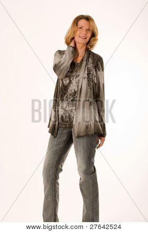 fashionably-dressed elderly woman