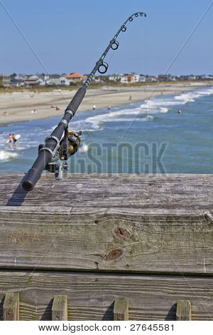 Fishing Pole Over The Ocean