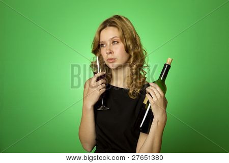 Close-up of woman with glass red wine