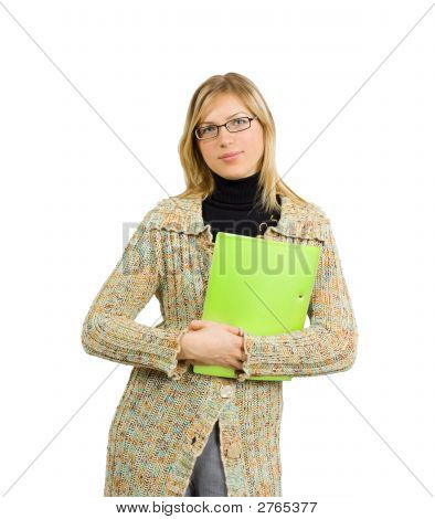 Sexy Business Lady In Formal Glasses And Vibrant Yellow Folder