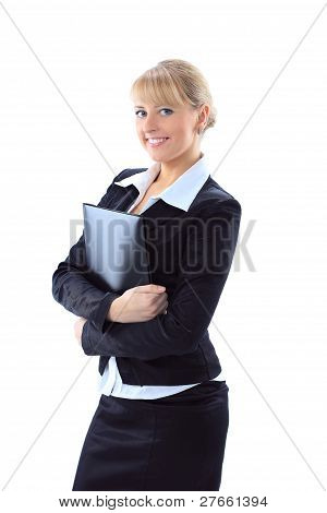 isolated business woman holding a folder