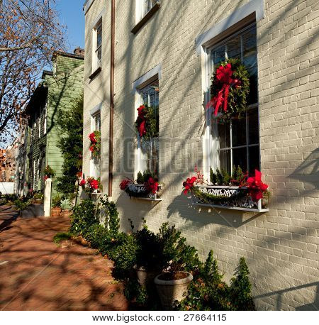 Cream Colored House With Xmas Wreath