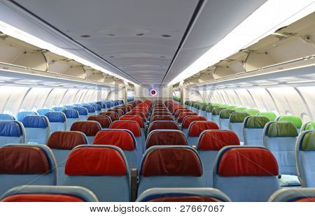 Detail Of Airplane  Interior With The Seats