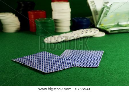 Two Cards On The Casino Table