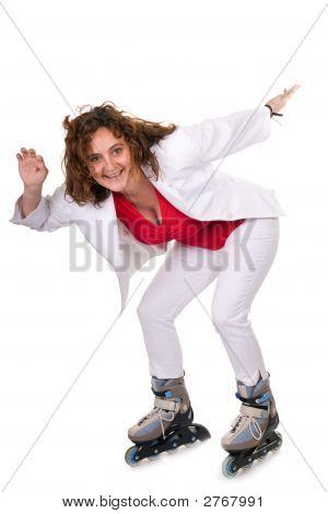 Woman Riding Rollerskate