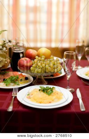 Fine Table Setting In Gourmet Restaurant. Close-up