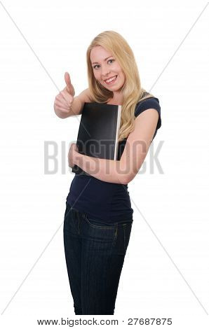 Young Blond Student With Thumbs
