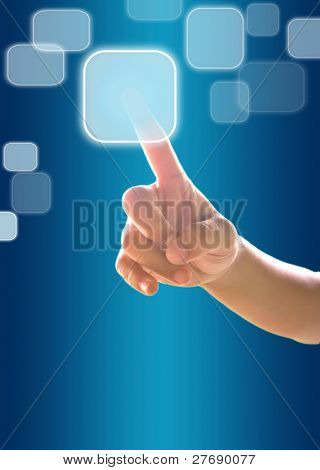 Hand Child Pressing  Button