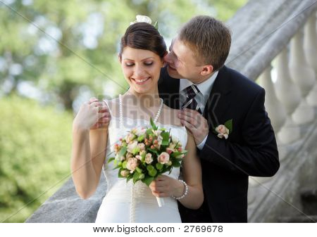 White Wedding Bride And Groom
