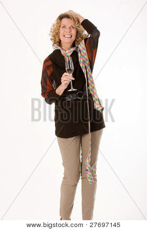 Funny old woman with streamers