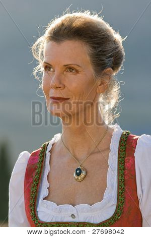 Portrait of a Bavarian woman in costume