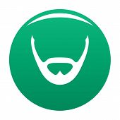 Beard And Whiskers Icon. Simple Illustration Of Beard And Whiskers Icon For Any Design Green poster