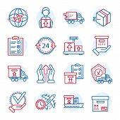 Global Parcel Delivery Icon Set. Outline Set Of Global Parcel Delivery Icons For Web Design Isolated poster