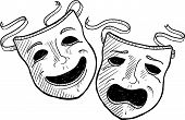 foto of pantomime  - Doodle style drama or theater masks illustration in vector format - JPG