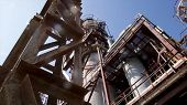 Structure Of Chemical Plant. Close Up Industrial View At Oil Refinery Plant Form Industry Zone With  poster