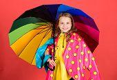 Kid Girl Happy Hold Colorful Umbrella Wear Waterproof Cloak. Enjoy Rainy Weather With Proper Garment poster