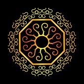 Antique Gold Ethnic Abstract Ornaments With Black Background. Octagonal Frame. Circle Ring Baroque O poster