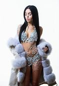 Woman Attractive Nude Body Shimmering Lingerie Wear Fur Coat. Fashion Concept. Female With Makeup We poster