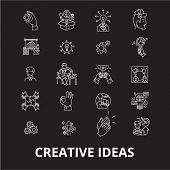 Creative Ideas Editable Line Icons Vector Set On Black Background. Creative Ideas White Outline Illu poster