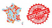Composition Of Winter And Flame Map Of France And Explosive Content Grunge Stamp Seal. Mosaic Vector poster