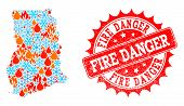 Composition Of Winter And Fire Map Of Ghana And Fire Danger Grunge Stamp Seal. Mosaic Vector Map Of  poster