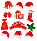 picture of happy holidays  - Big set of red santa hats and clothing - JPG