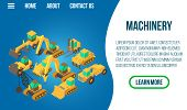 Machinery Concept Banner. Isometric Banner Of Machinery Concept For Web, Giftcard And Postcard poster
